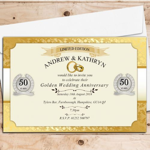 10 Personalised Golden Wedding Anniversary Invitations N11